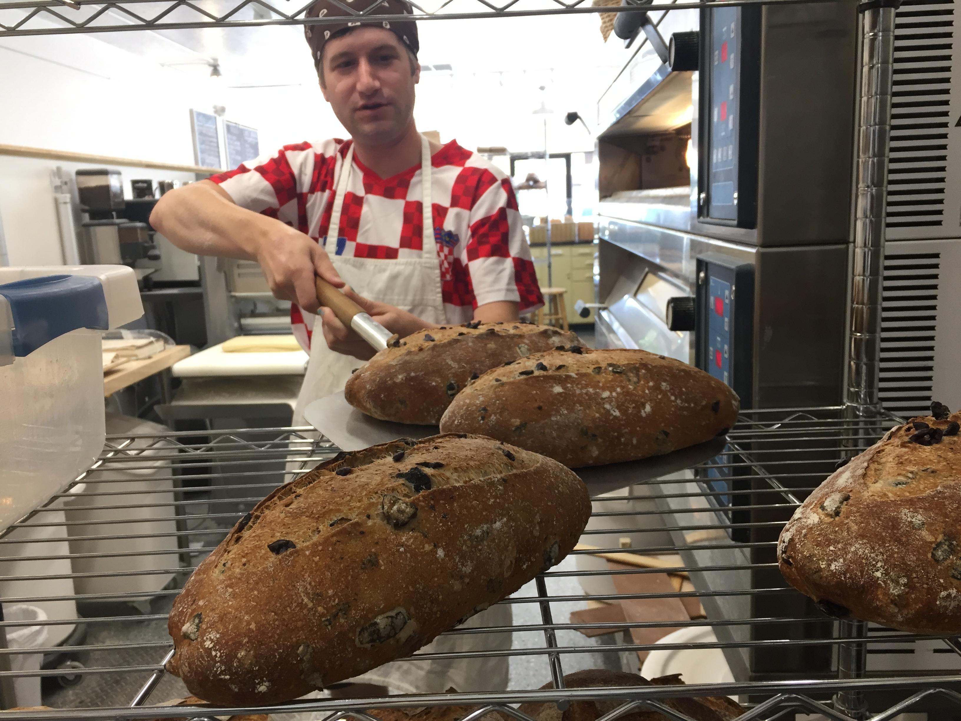 Tyler unloading bread
